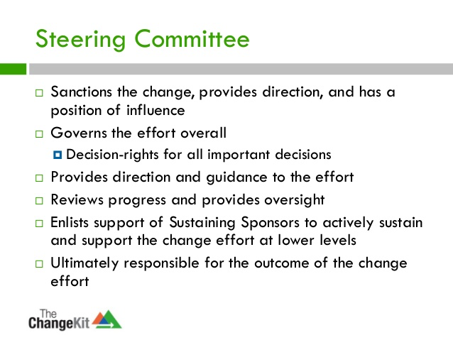 Typical responsibilities of a steering committee